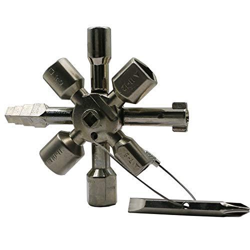 (QST-CAIDU Multifunctional Twin Key Universal Control Cabinet Key Torque Wrenches Cross Key with 1 Chain 10 Profiles CNC Key Train Door Key,Chrome)