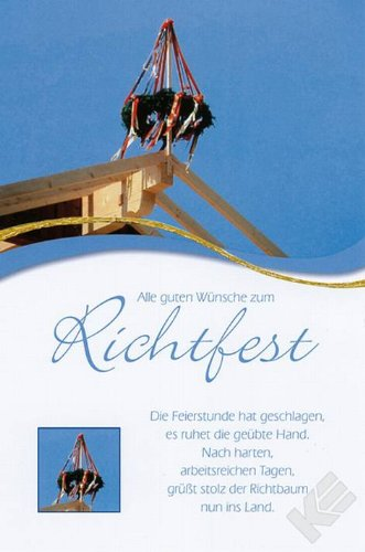Karte Richtfest Motiv Spruch Kreuz am Dac Liefermenge = 30: Amazon.de ...