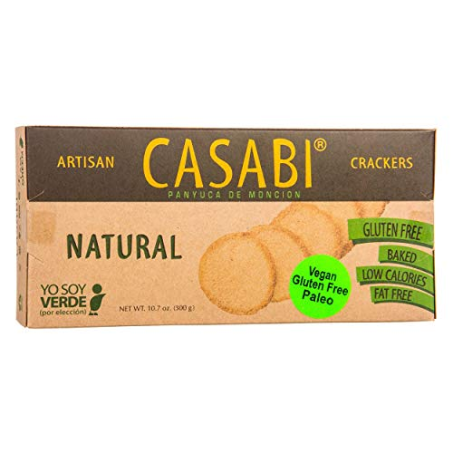 Casabi Artisan Crackers, Naturally Gluten-Free (GF), Vegan, Paleo, Low Fodmap, AIP Friendly, Made from Yucan Root with an Amazing crunch. 10.7 oz/pack (Plain, 2-Pack)