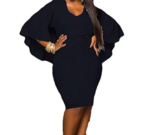 Coolred-femmes Col Cranté Batwing Dos Nu Sexy Taille Plus Robe Midi Noir