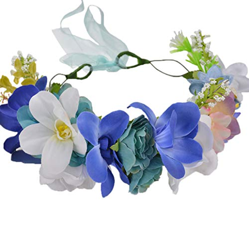 (Vivivalue Wedding Floral Crown Adjustable Flower Headband Hair Wreath Floral Headpiece Halo Boho with Ribbon Party Prom Festival Photos Blue )