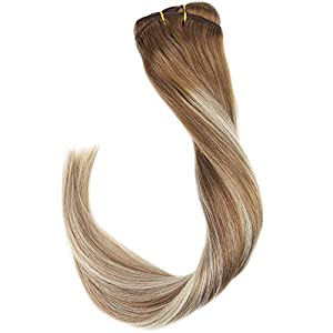 Sunny 14inch 120gram/7pcs Remy Balayage Clip in Hair Extensions Human Hair Medium Brown #6 Mixed with #60 White Blonde Highlight Hair Extensions with Clips Human Hair