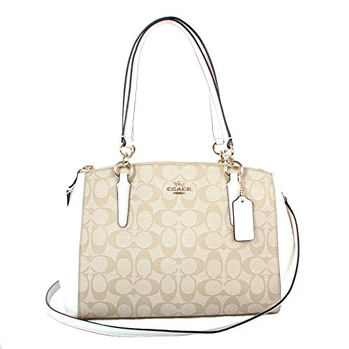 Coach Signature PVC Small Christie Carryall F58291 Light Khaki/Chalk by Coach