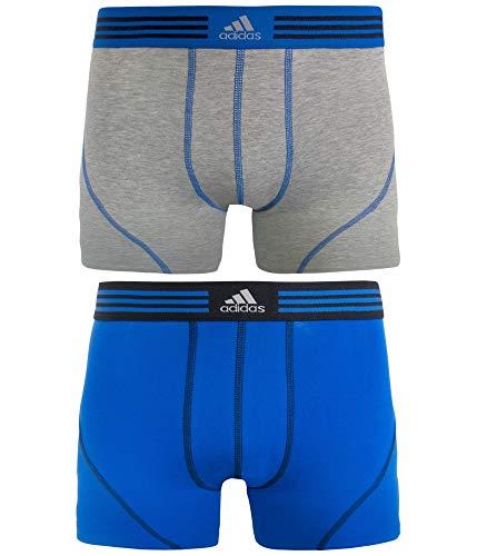 adidas Men's Athletic Stretch Trunk Underwear (2-Pack), (Heather Grey/Bold Blue)/(Bold Blue/Black), Medium