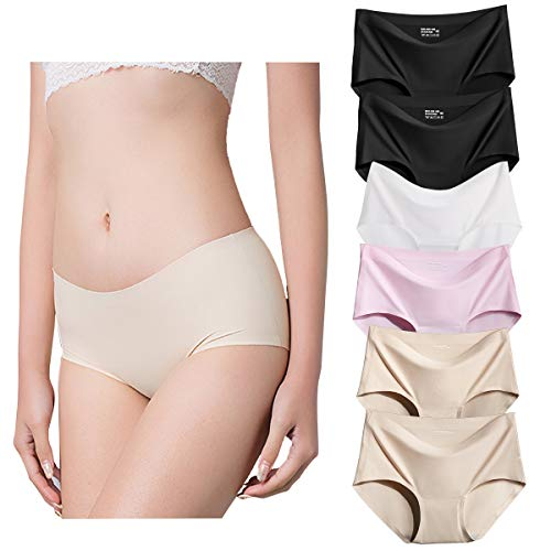 Ravom Seamless Underwear Women Invisible Ice Silk Comfort Panties 6 Pack Mid Rise Hipster Breathable Briefs Size (Microfiber Seamless Brief Panty)