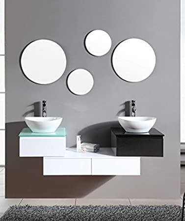 Mobile arredo bagno cm 150 sospeso bianco con lavabo d'appoggio ...