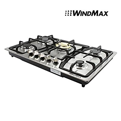 """WindMax® 30"""" Stainless Steel 5 Burner Built-In Main Stoves Golden Color Natural Gas Cooktops Household Cooker"""