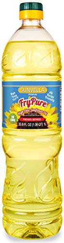 - SUNVELLA FryPure Non-GMO High Oleic Sunflower Oil, Pressed-Refined 33.8 FL OZ (1.0L)