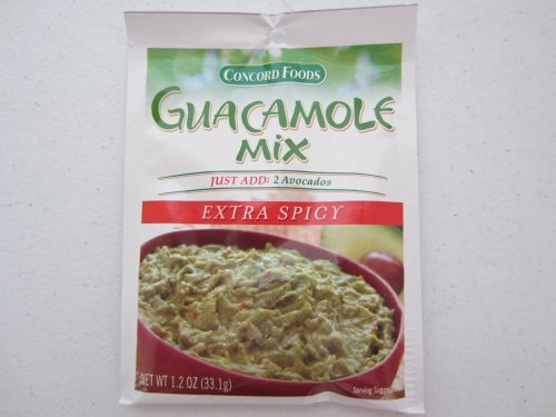 Concord Foods Extra Spicy Guacamole Mix, 1.2-ounce Pouches (Value Pack of 6 Pouches)