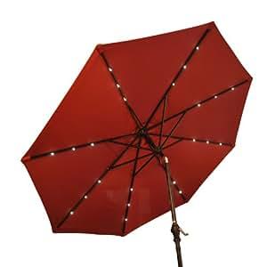 Outsunny ⌀9' x 8'H Solar Patio Umbrella Tilt Outdoor LED Lights Parasol Outdoor Garden Market Umbrella (Wine Red)