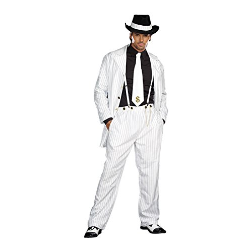 Girl Pimp Costume (Dreamgirl Men's Zoot Suit Riot Costume, White/Black,)
