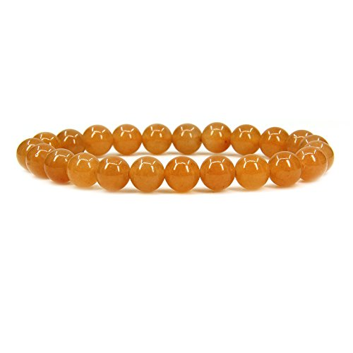 - Natural Orange Aventurine Gemstone 8mm Round Beads Stretch Bracelet 7
