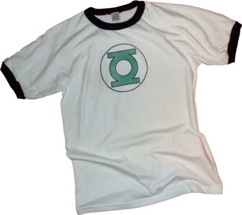 Green Lantern Distressed Logo Adult Ringer T-Shirt, Large