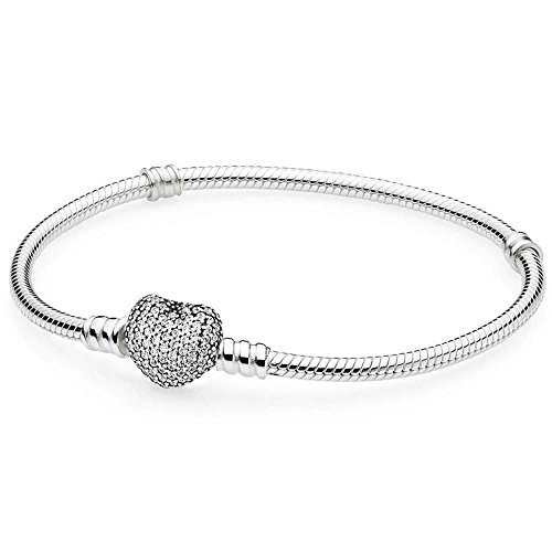 Pandora Women's Moments Silver Bracelet with Pave Heart Clasp