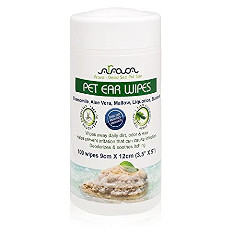 Arava Pet Ear Wipes, 100 Count - for Dogs, Cats, Puppies & Kittens, Natural Medicated Cleansing Deodorizer, Removes Dirt, Wax, Yeast & Mites Irritations, Prevents Odors and Itching, Soft & - Friendly Cat