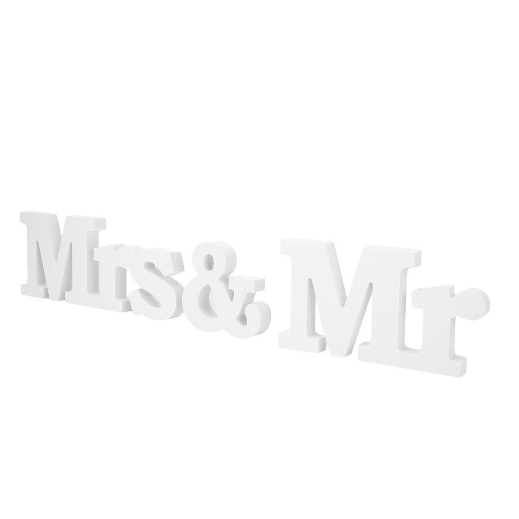 DDGE DMMS Letras de Madera para decoración de Boda, diseño de Mr & Mrs