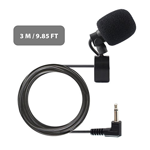 Professional Best 3.5mm Microphone with Clip External Assembly Mic for Car Audio Vehicle Head Unit Bluetooth Enabled Stereo System Radio GPS Navigation (Stereo Assembly)