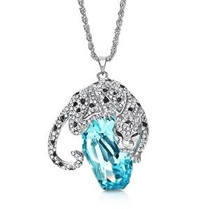 NEOGLORY Platinum Plated Blue Crystal Animal Leopard Long Necklace Pendants