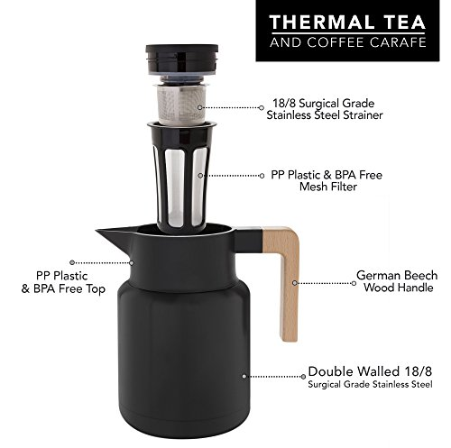 Large Thermal Coffee Carafe - Stainless Steel, Double Walled Thermal Pots For Coffee and Teas by Hastings Collective - Black, Vacuum Carafes With Removable Tea Infuser and Strainer | 50 Fl Oz. by Hastings Collective (Image #3)