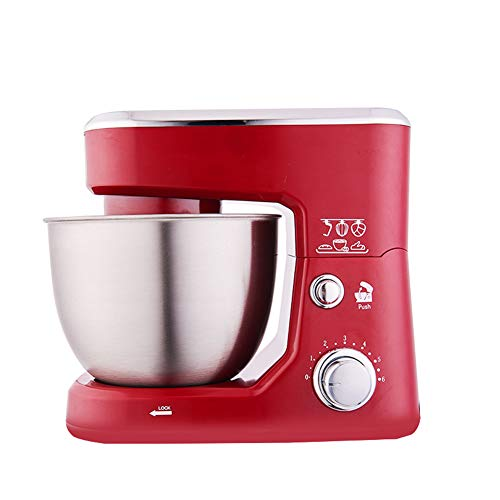 Electric Food Stand Mixer 800W 5 Speed With 4L Stainless Steel Bowl, Beater, Dough Hook, Whisk, Splash Guard,Red