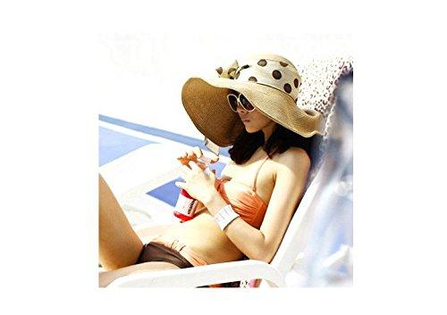 Women's Foldable Wide Large Brim Floppy Summer Beach Sun Straw Hat Cap with Silk Ribbon