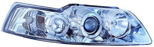 Chrome Mustang Projector (IPCW CWS-533C2 Ford Mustang Chrome Projector Head Lamp - Pair)