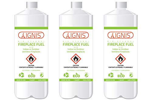 Ignis Bio Ethanol Fireplace Fuel - 3 Pack (Ethanol Fireplace Fuel)