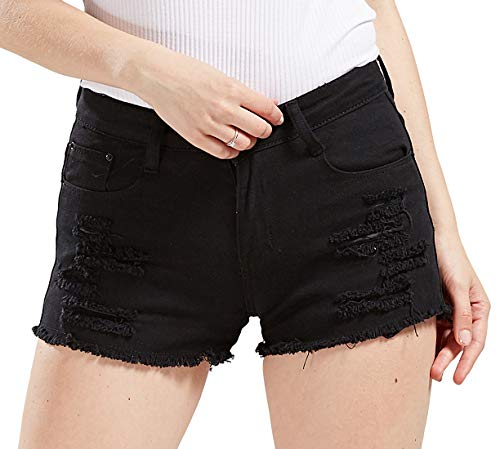 chouyatou Women's Perfectly Fit 5-Pockets Ripped Denim Jean Shorts (X-Small, Black)