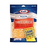 Kraft Zip Pak Natural Shredded Three Cheese, 8 Ounce -- 12 per case.