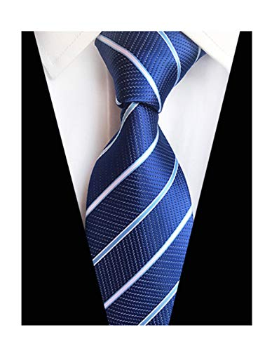 (New Classic Royal Blue Striped Tie Woven Jacquard Silk Men's Suits Ties)