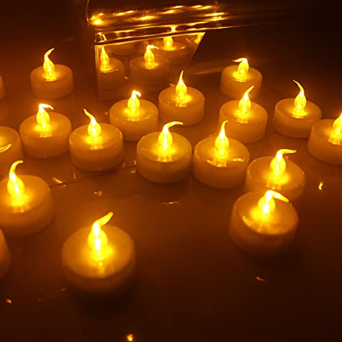 Wilrigir Remote Tealight Candles with 4H 6H 8H Timer,Amber LED Flameless Candles,Cr2450 Battery Powered Tealight,Best for Seasonal Decorations, Parties, Celebrations, Special Events,Pack of 12