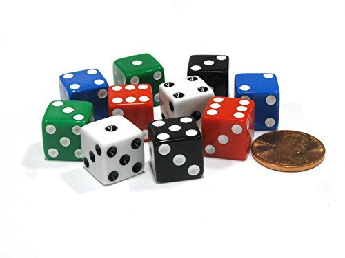Set of 10 Six Sided D6 12mm Dice Assorted Colors