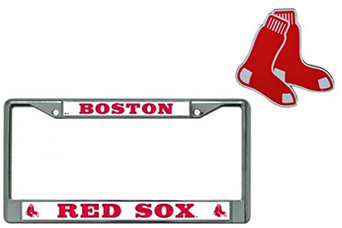 Rico Industries Official Major League Baseball Fan Shop Licensed MLB Shop Authentic Chrome Colored License Plate Frame and Matching Chrome Emblem (Boston Red Sox - Solid)