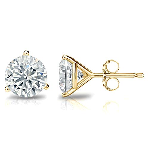 (14K Gold Round Stud Earring,Solitaire Round Cubic Zirconia, CZ Stud Earrings with Gold butterfly Pushbacks,3MM-8MM(6G))