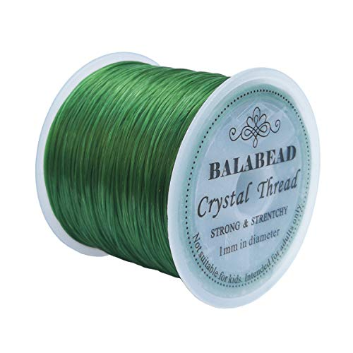 BALABEAD 1mm Strong Elastic Stretch Crystal String Cord for Jewelry Making Bracelet Beading Thread 60m/roll (Green)