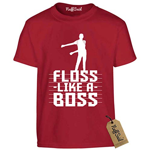 NuffSaid Youth Floss Like A Boss T-Shirt - Back Pack Kid Flossin Emote Dance Dance Tee