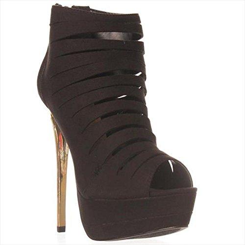Justfab Gewoon Fab Vrouwen Sheba Peep Toe Enkel Mode Laarzen Zwart