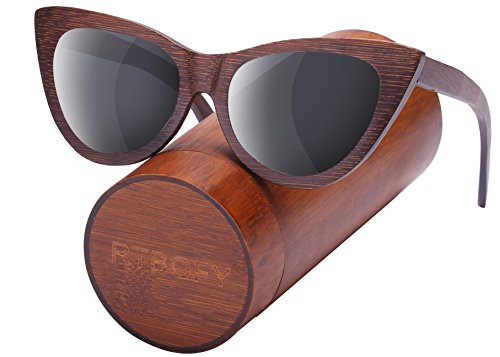 Wood Polarized Cat Eye Sunglasses For Women Wayfarer Style - 100% UV Protection (Brown, Grey)
