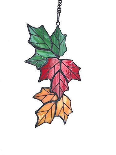 Alivagar Stained Glass Leaf Window Hangings SunCatcher Leaves, 7 1/2