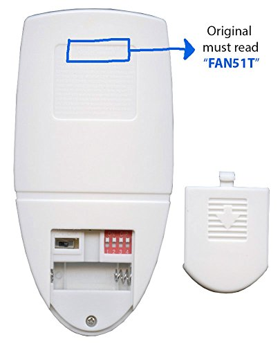Anderic Replacement for FAN51T Remote with Wall Mount for Hampton Bay Ceiling Fans - (Model: FAN-51T, FCC ID: L3HFAN51T) - FAN51TW by Anderic (Image #2)
