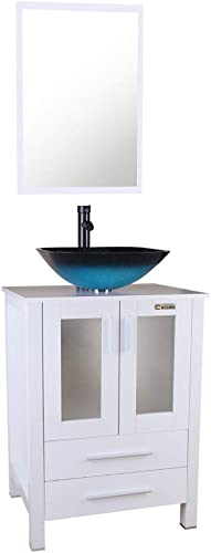 White Bathroom Vanity Square Tempered Glass Vessel Sink Combo 1.5 GPM Faucet Oil Rubbed Bronze Bathroom Vanity Top