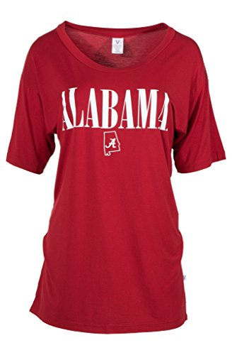 Venley Official NCAA University of Alabama Crimson Tide UA ROLL Tide! Women's Oversized Boyfriend T-Shirt