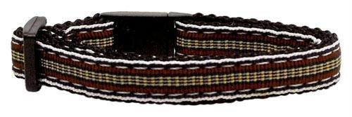 Mirage Pet Products Preppy Stripes Nylon Ribbon Cat Safety Collars, Brown/Khaki