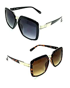Gazelle Metal & Plastic Retro Square Sunglasses