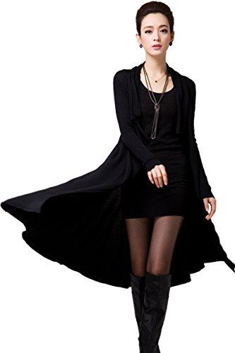 Solide Open Zhili Front Long Élégant Femmes Noir Cardigan xYFwFSqz5