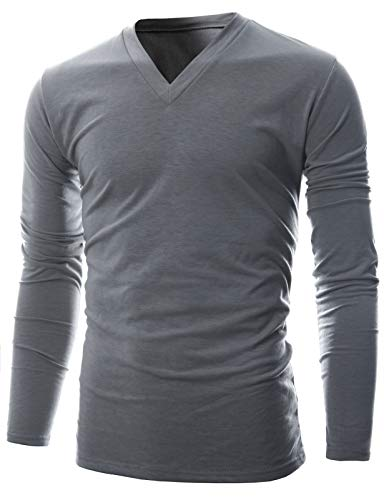 Micro Turtleneck Fleece (GIVON Mens Slim Fit Soft Cotton Long Sleeve Lightweight Thermal V-Neck T-Shirt/DCP043-GRAY-2XL)