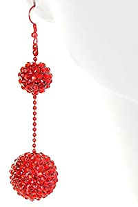 Iridescent Double Shamballa Style Crystal Ball Hanging Earrings - Red