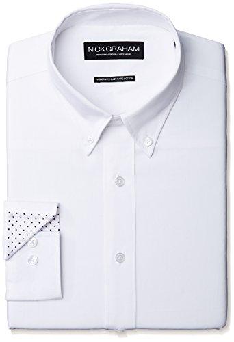 Nick Graham Menswear NDS304B Camisa de Vestir para Hombre, Color Blanco, Small-L