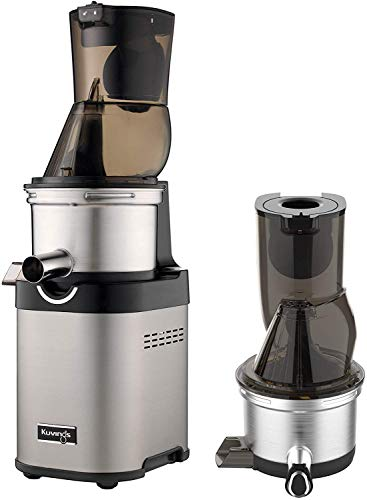 Kuvings NSF Commercial Slow Juicer, Master Chef CS700, Maximizes Nutritional Content & Taste, Slow-Rotating Motor Reduces Noise, Ultra-Efficient 200W, 60RPMs, Inc. 1 Extra-Top Set, Stainless Steel