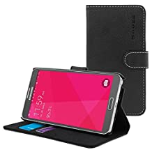 Galaxy Note 4 Case, Snugg Black Leather Flip Case [Card Slots] Executive Samsung Galaxy Note 4 Wallet Case Cover and Stand [Lifetime Guarantee] - Legacy Series